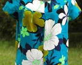 Vintage 60 Bright Floral Barkcloth Hawaiian Dress Hibiscus Floral Bold Size Large