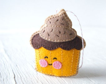 PDF patroon - kleine Cupcake voelde Softie patroon, voelde stiksels patroon, Thanksgiving, vilt Ornament patroon, Softie patroon