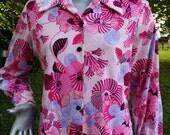 35% OFF Womens Plus Size 70s Disco Shirt/ Vintage Shirt/ 70s Shirt/ Vintage Disco Shirt by Sears in Pink and Purple Size 14-16