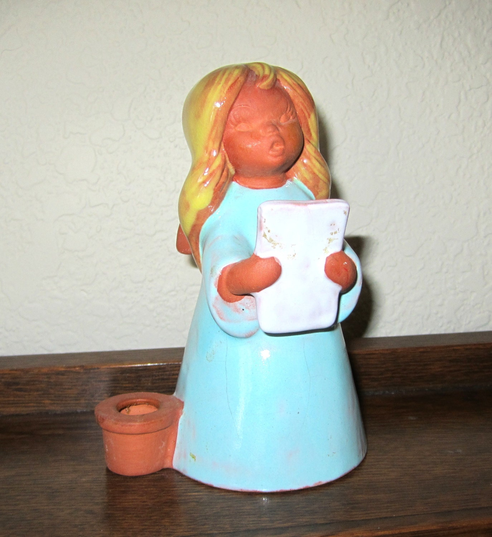 Singing Carolers Candleholders Figurines Vintage By: Goebel W. Germany Terra Cotta BLUE ANGEL Caroler Candle Holder