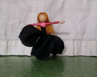 Anti Valentine Flower Fairy Doll,  Black Rose Valentine Doll, black and  pink Waldorf Doll