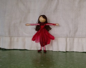 Magenta and Pink Flower Fairy -  Gerber Daisy Fairy Doll - Waldorf Doll - Bendy Doll - Art Doll