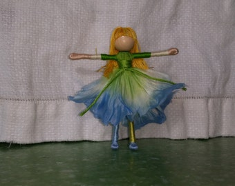 Blue and Green Flower Fairy Doll - Morning Glory Flower Art Doll