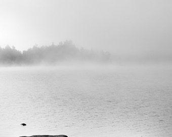 Maine lake black and white photograph, Solitude, landscape fine art print, scenic Upper Richardson Lake, nature home decor