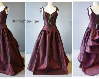 red bustle gown-custom made-couture-vampire-alternative wedding dress-masquerade-vampire costume-the secret boutique-plus size-formal