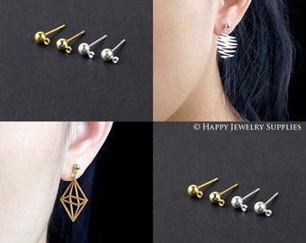 10pcs Nickel Free - High Quality 3mm Ball Earring Posts With one hole (ZE164)