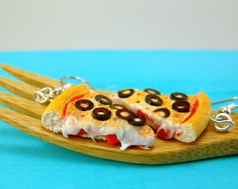Pizza Earrings Food Jewelry MADE TO ORDER Olive Pizza Earrings Food Earrings