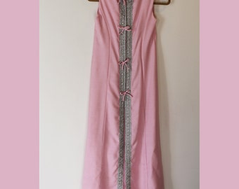 Vintage 1960s to 1970s Pink and Silver Long Dress