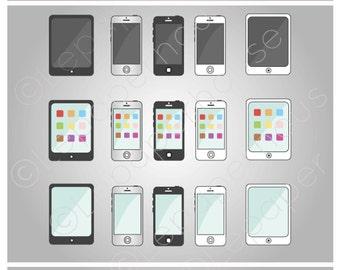 Phones and Tablets clipart, digital scrapbook elements - 15 Clip art, Instant Download