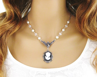 Cameo Necklace, Victorian Lady Cameo, Cameo Jewelry, Cameo Necklaces, Beaded Necklace, Cameo Choker, Lady Cameo, Bead Necklace, Cameo, N-748
