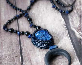 necklace - Crescent Moon - Blue moon, mystic, dark, onyx, black, luna, psychic, gothic, mysterious