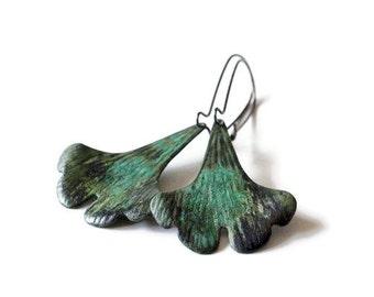 Ginkgo Leaf  Earrings, Ginkgo Earrings, Verdigris Patina, Brass Earrings, Ginkgo Jewelry, Green Ginkgo, Verdigris, Leaf Earrings