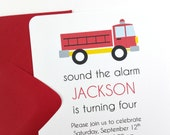 Fire Truck Party Invitations, Fire Truck Birthday Invitations, Fire Truck Invitations - SET OF 12