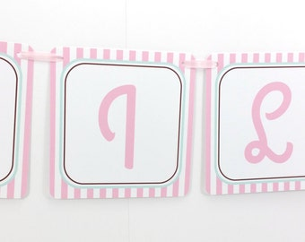 Name Banner - Made to Match Pink Ice Cream Party Birthday Banner