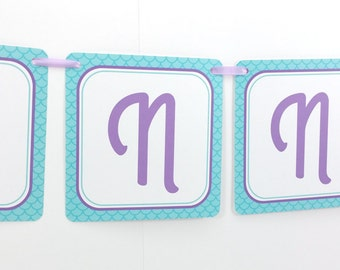 Name Banner - Made to Match Mermaid Party Birthday Banner