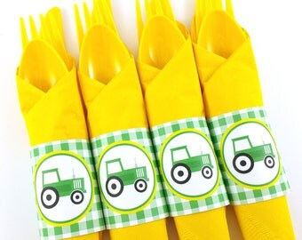 Green Tractor Party Napkin Rings, Tractor Birthday Napkin Rings, Tractor Silverware Wraps, Tractor Party Decorations - SET OF 12