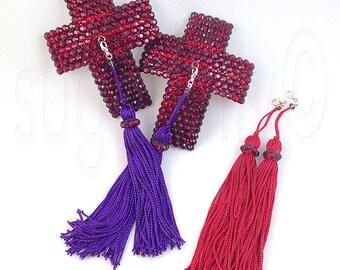 Removable Tassels Cross Crucifix Rhinestone Nipple Pasties - SugarKitty Couture