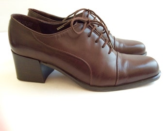 SALE! Etienne Aigner Oxford Heels . Brown Designer Shoes . Was 45.00