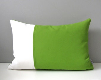 Modern Green Outdoor Pillow Cover, Decorative Lime Green & White Pillow Case, Color Block Throw Pillow Cover, Macaw Sunbrella Cushion Cover