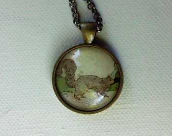 Gray Squirrel -  1920's Ephemera Pendant - One of a Kind - Second
