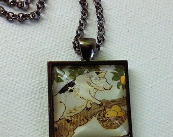 Pig in a Tree -  1920's Ephemera Pendant - One of a Kind - Second