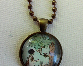 Girl with a Bird -  1920's Ephemera Pendant - One of a Kind - Second