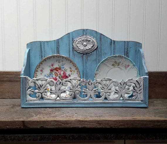 COTTAGE BLUE kitchen shelf farmhouse decor spice rack plate