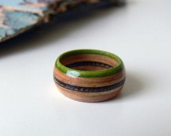 Handmade Green and Black Maple Wood Recycled Skateboard Ring, Size 8