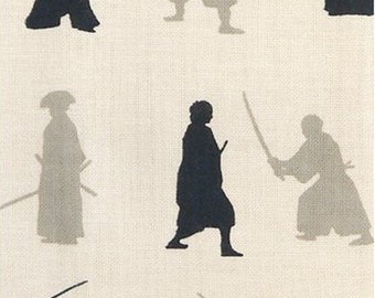 Japanese Tenugui Towel Cotton Fabric, Samurai Design, Sword, Katana, Off White Fabric, Modern Art Design, Hand Dyed Fabric, Home Decor, h092