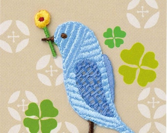 Little Blue Bird, Embroidered Iron On Patch, Japanese Iron on Applique, Made in Japan, Kawaii Bird & Flower Motif, Embroidery Applique, W036