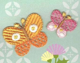 Colorful Butterfly, Embroidered Iron On Patch, Japanese Iron on Applique, Made in Japan, Kawaii Butterflies Motif, Embroidery Applique, W037