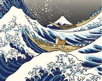 Japanese Tenugui Cotton Fabric, Hand Dyed Fabric, Shiba Inu Dog, Big Wave, Boat, Ukiyoe Style Design, Wall Art Hanging, Gift Wrapping, h149