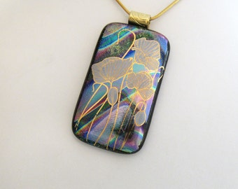 Dichroic Jewelry - Poppy Field - Dichroic Fused Glass Jewelry - Fused Dichroic Glass Pendant & Necklace - 109-14