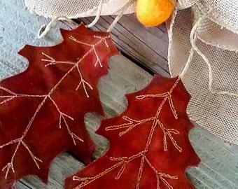 Fall Leaves Door Hanging - Fall Door Hanger - Autumn Decor - Fall Leaves Wall hanging - Handmade Fall Leaves Door Greeter - Oak Leaf Decor