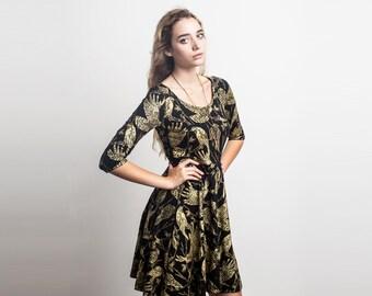 Birds of Prey Long Sleeve Twirling Dress in Gold on Black