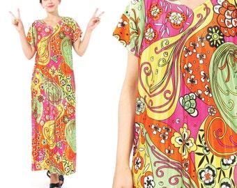 30% OFF SALE 1960s Psychedelic Maxi Dress Hippie Floral Print Dress Bright Colorful Maxi Dress Flower Power Short Sleeve Long Dress (M/L)