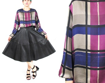 Vintage Plaid Silk Blouse Womens Long Sleeve Silk Blouse Collarless Blouse Purple Grey Plaid Print Silk Shirt Button Down Back Modern (M)