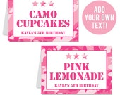 INSTANT DOWNLOAD Pink Camo Party Buffet Cards - EDITABLE Printable File