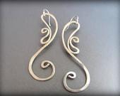 Silver Earrings- Art Nouveau-Silver Spiral Dangle Earrings-Minimalist Jewelry-Long Earrings-Hammered Silver Earrings- Silver Dangly Earrings