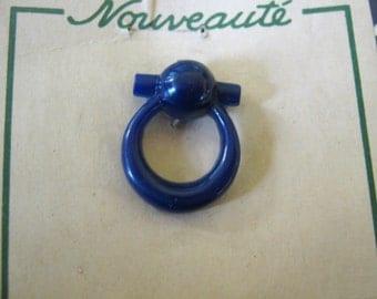 VINTAGE 1940s Novelty Buttons Navy Blue on original Card x 3 NIP