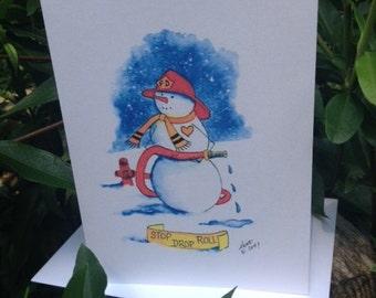 STOP DROP ROLL Fireman Snowman Note Cards