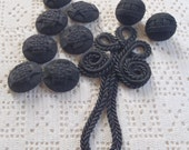Vintage Buttons and Trim Woven Black