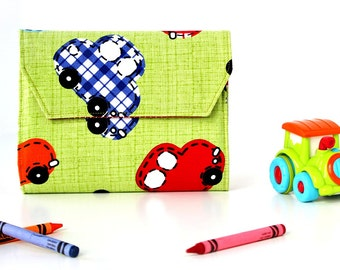 Stitched Cars Deluxe Crayon Wallet, Easter gift, Ready to ship, Includes crayons and paper pad, Crayon holder, Toddler toy, Art wallet