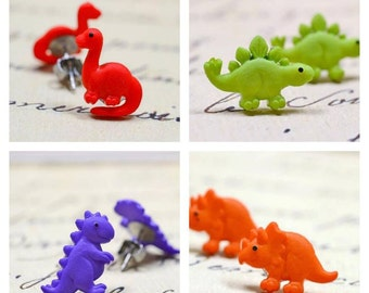 Dinosaur Earrings / Cute Dinosaur Stud Earrings / Brontosaurus, T-Rex, Stegosaurus, Choose Your Own Dinosaur Jewelry Studs Stainless Steel,