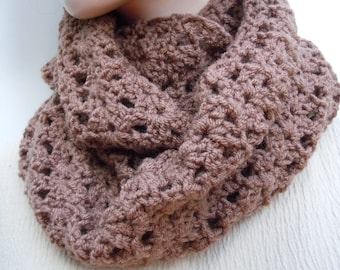 Milk Chocolate Brown Cowl - Taupe Brown Endless Scarf - Infinity Scarf - Crocheted scarf