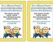 Custom Minion Birthday Party Invitations