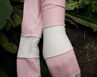 Pink & White Cotton Arm Warmers