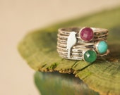 Sterling Silver Mama Bird Stacking Rings with Personalized Baby Birthstones Made to Order