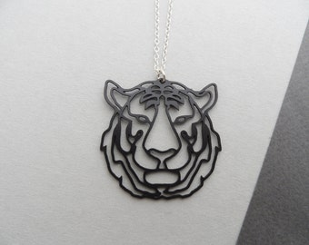 Tiger head necklace, tiger necklace, tiger jewelry, animal necklace, animal jewelry