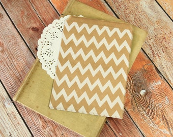 CHEVRON Zigzag patterned Kraft Brown Paper Bags